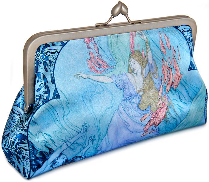 Mermaid clutch bag with Rackham and Clarke illustrations.