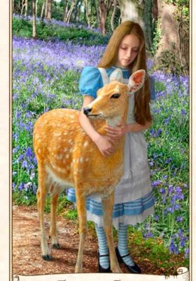 The Alice Tarot. Five of Coins. Alice with the fawn.